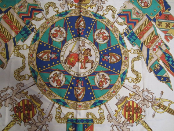 Silk Scarf 35x34 Swords Knights Flags Tattinger Scarf Free Shipping USA  100% Silk Made in Italy Hand Rolled Edges