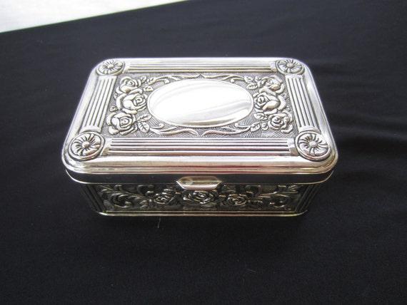 Vintage Silver Plated Metal Jewelry Box Keepsake Box Roses Very Ornate Blue Velvet Lining Nice Jewelry Box