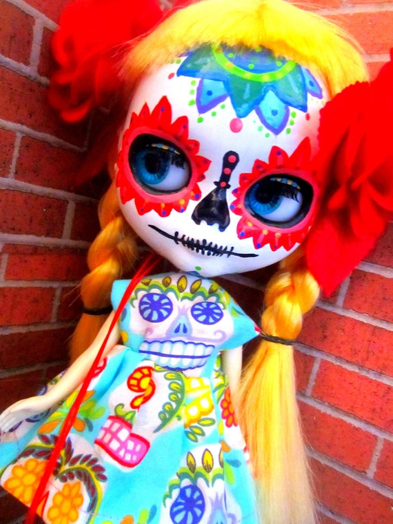 Blue Sugar Skull Day of the Dead Dress for Blythe or Dal