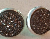 Simply Chic  -  Understated Elegance.  Black Druzy Earring Studs