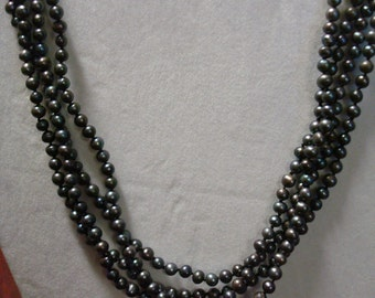 4-Strand burgundy freshwater pearl necklace w/sterling clasp