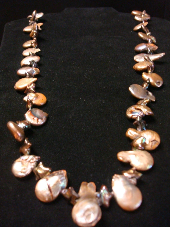 Copper and burgundy star and coin freshwater pearl necklace