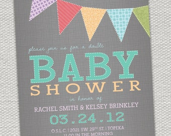 Multi-Colored Bunting Flags Baby Shower Invitation