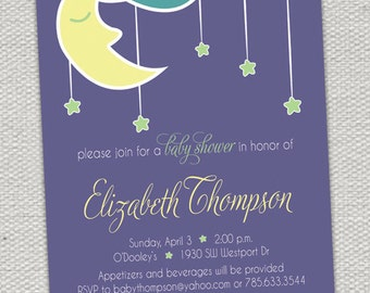 Hanging Stars & Moon Baby Shower Invitation