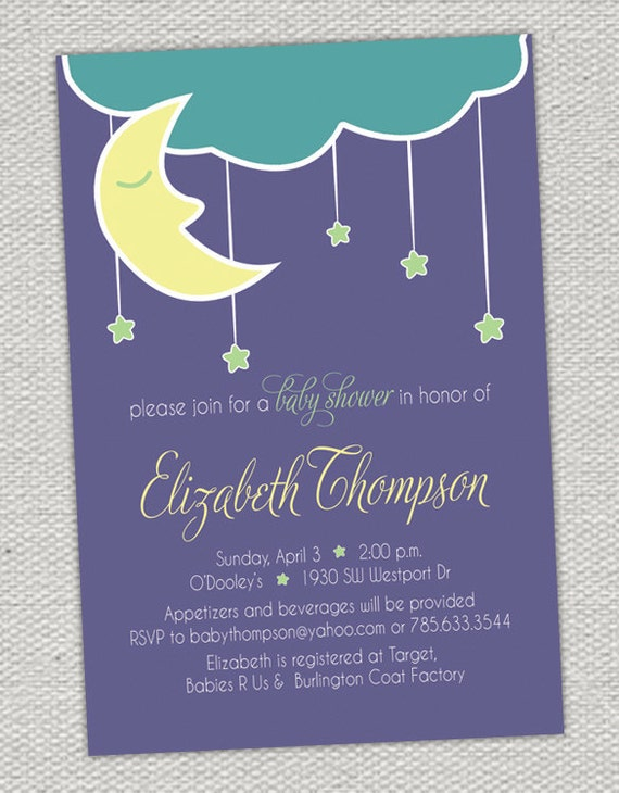 Hanging Stars & Moon Baby Shower Invitation