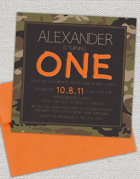Camo and Hunter Orange Birthday Invitation