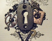 PORTAL  - Steampunk Assemblage Altered Art Vintage Key Hole Escutcheon Watch Dial Mens, Womens Necklace - OOAK