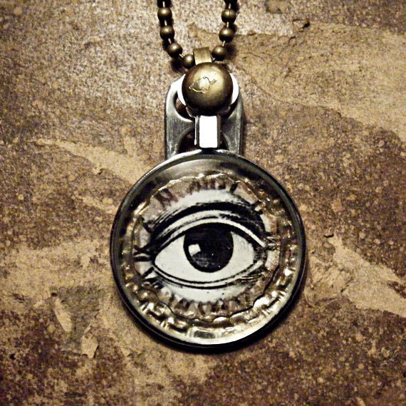OBSERVER - Steampunk Eye- Optical Lens Monocle Repurposed Bottle Cap Altered Art Mens, Womens Necklace - BROWN