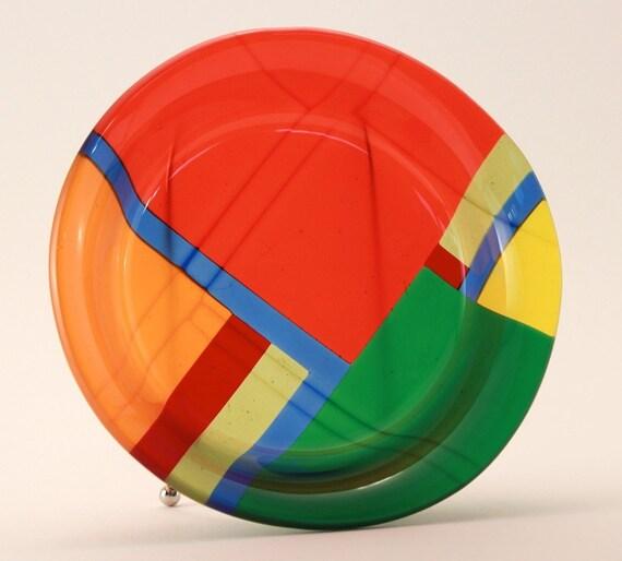 Multi-Color Geometric Fused Glass Bowl