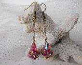 Vintage Dangling Earrings PINK AURORA RHINESTONE  dangling Swavorski