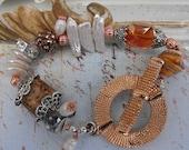 Handmade Beaded bracelet Copper, Statement Chunky