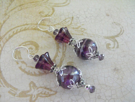STERLING SILVER  handmade earrings dangle purple glass czech glass flowers,swavorski crystals
