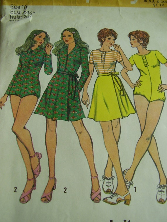 Vintage 1970s Simplicity 9924 body-suit and mini front wrap skirt, Size 10, Bust 32 1/2