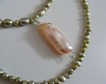Pastel Green Pearl Necklace with Pearl Pendant