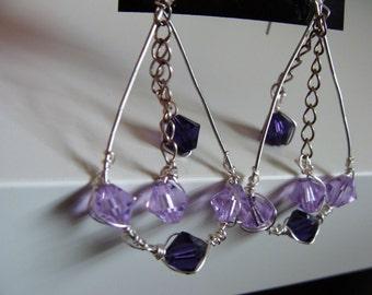 Sterling and Crystal Purple Dangle Earrings