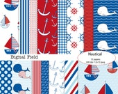 Nautical digital scrapbooking paper pack - navy blue white red - 15 printable jpeg papers, 12x12, 300 dpi - instant download