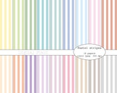 Pastel stripes digital scrapbooking paper pack - 18 printable jpeg papers, 12x12, 300 dpi - instant download