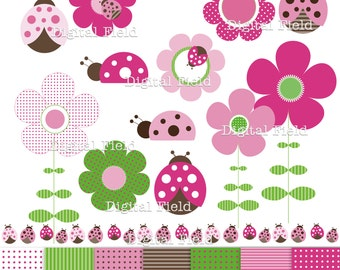 Ladybugs and flowers Clip Art Set and digital scrapbooking paper pack-Pink, Green&Brown printable digital clipart - instant download