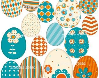 Retro Easter Eggs Clip Art Set - orange, teal and cream printable digital clipart - instant download