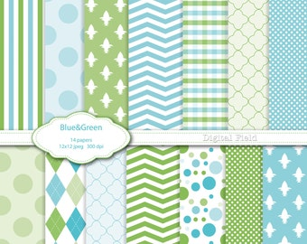 Blue and Green digital scrapbooking paper pack -14 printable jpeg papers, 12x12, 300 dpi - instant download