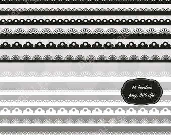 Black and White Digital Scalloped and Lace Borders Clip Art Set - printable clipart borders - instant download