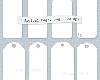White printable digital shipping tags, labels or stickers clip art set - instant download