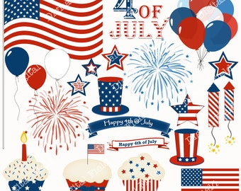 4th of July Clip Art Set - blue white red printable digital clipart - instant download