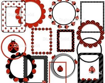 Ladybug Clip Art Set - digital frames, borders, ladybugs - printable digital clipart - instant download