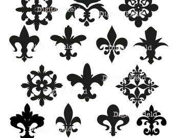Fleur de Lis Clip Art Set - printable digital clipart - instant download