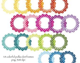Polka Dot Scalloped Circle Frames Clip Art Set - printable colorful digital clipart - instant download
