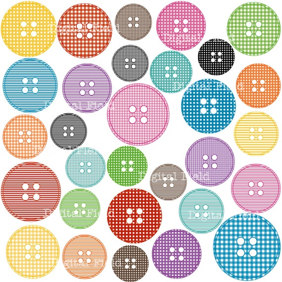 Items similar to Colorful Printable Digital Patterned Buttons Clip Art ...