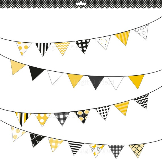 Black, white and yellow buntings clip art set - printable digital clipart - instant download