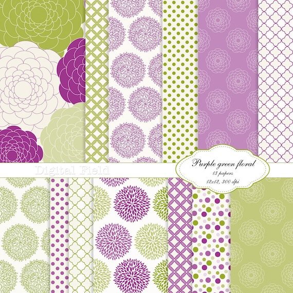 Purple and Green Floral digital scrapbooking paper pack -13 printable jpeg papers, 12x12, 300 dpi - instant download