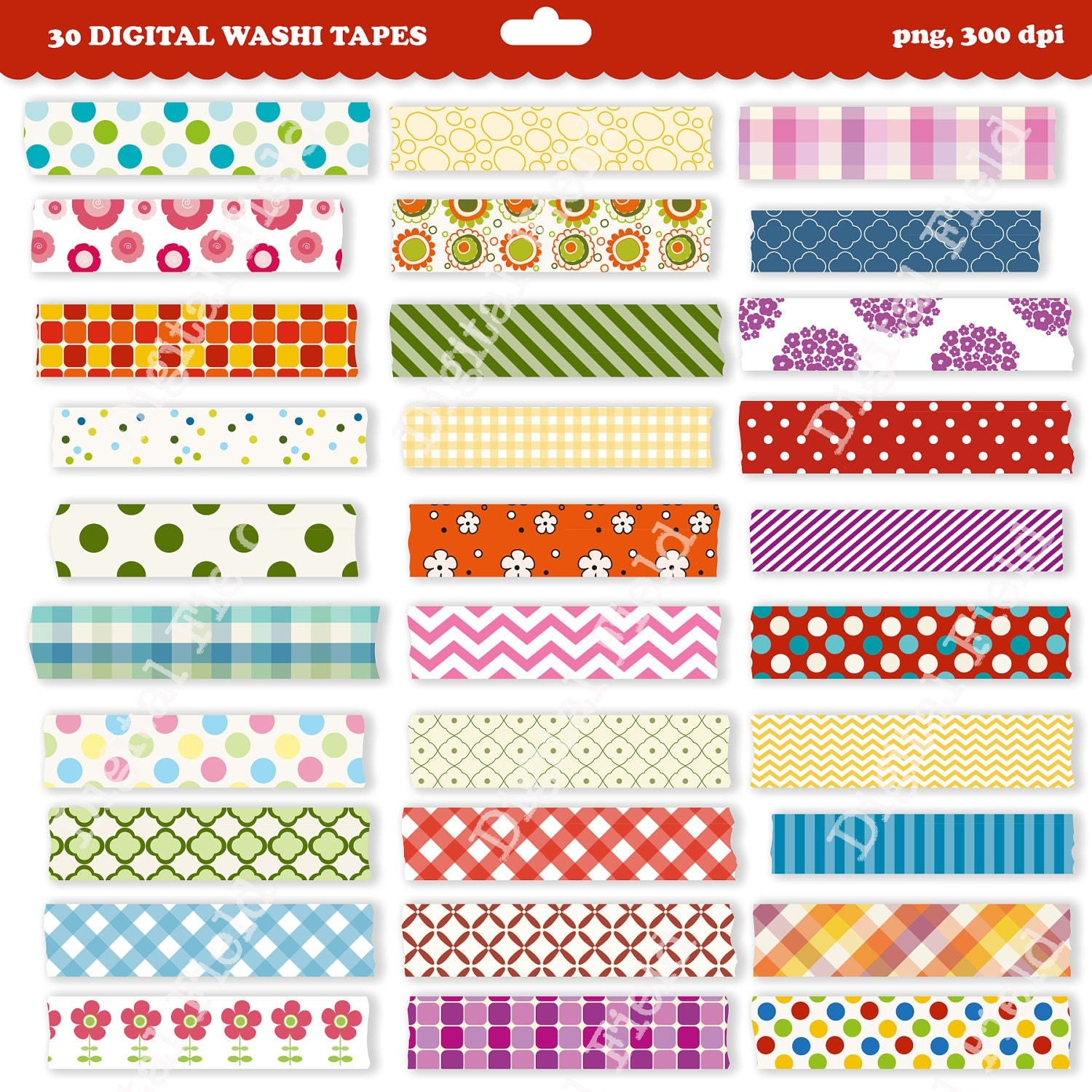 Printable Washi Tape Clip Art Set digital clipart by digitalfield