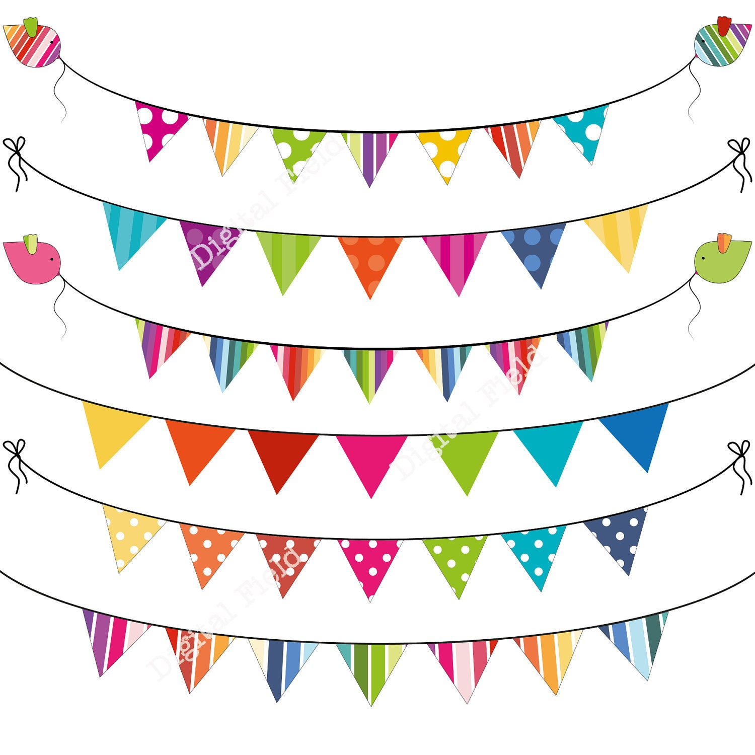 colorful summer bunting clip art set printable digital bunting clip art paper bunting clip art free colorful