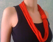 Red crochet infinity necklace scarf vegan lipstick red MADE TO ORDER