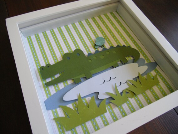 Kids room art, nursery art, kids wall art, baby nursery, Alligator in Swamp w/ baby bird, boys room decor