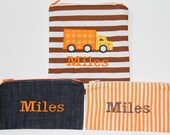 Truck Applique on Personalized Reusable Snack and Sandwich Bag Set (1 - 3  bags) with Zipper