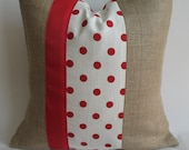 Red and White Polka Dot Fabric and Burlap Pillow Cover with Red Grosgrain Ribbon