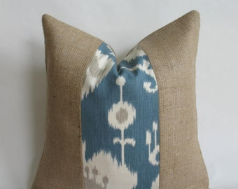 "Tan and Blue Ikat Fabric and Burlap Pillow Cover, 18""x18"""