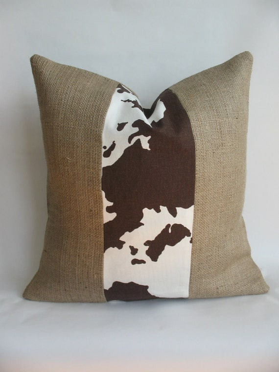Cowhide Fabric and Burlap Pillow Cover
