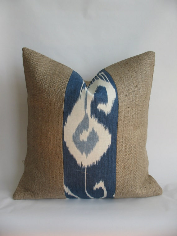 Blue Ikat Fabric And Burlap Pillow Cover