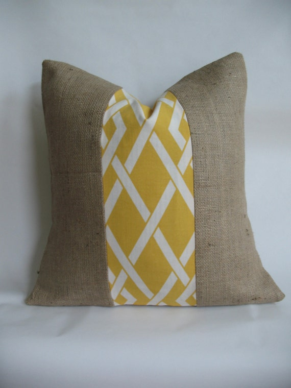 Yellow and White Outdoor Fabric and Burlap Pillow Cover
