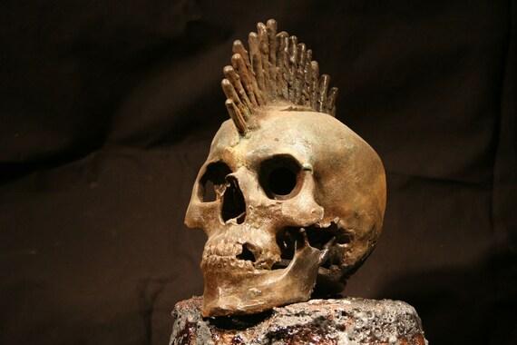 Cast Iron Mohawk Skull