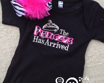 Princess has Arrived Custom Shirt with Matching Hair Bow