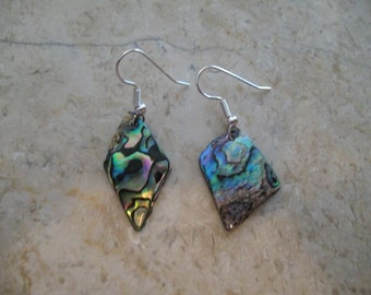Handmade silver and abalone earrings