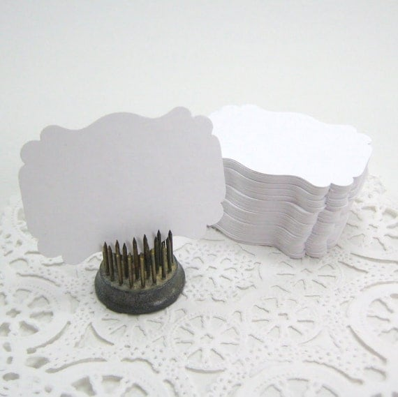 Escort Cards L A B E L S - Smooth White (Wedding Favor Tags, Shower Tags, Place Cards, Table Setting, Beach Wedding)