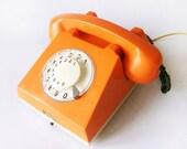 Bright Orange Rotary phone - 1972 Vintage European Rotary Telephone - Retro Rotary Phone - East Europe Made in Romania