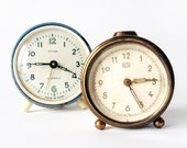 Set of two soviet non working Clocks - russian Vityaz and Ruhla vintage alarm mechanical clocks- blue and gold alarm clocks