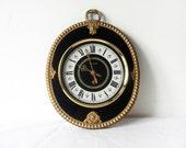 Black and Gold - Elegant Decorative Russian wall clock - soviet wall clock - russian clock in working order - elegant vintage home decor
